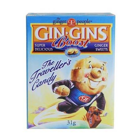 Gin Gins Boost 31gr (Παστίλιες από 100% φρέσκο Ginger (πιπερόριζα) για ναυτία_ δυσπεψία_ πονόλαιμο_ εντερικούς κολικούς)